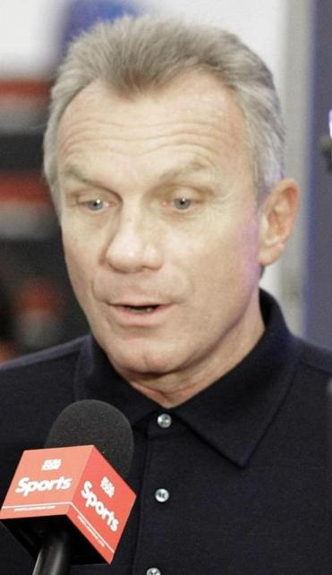 NFL Hall of Fame quarterback Joe Montana, right, is interviewed on radio row at the Super Bowl XLVI media center Thursday, Feb. 2, 2012, in Indianapolis. The New England Patriots will face the New York Giants in Super Bowl XLVI Feb. 5. (AP Photo/David J. Phillip)